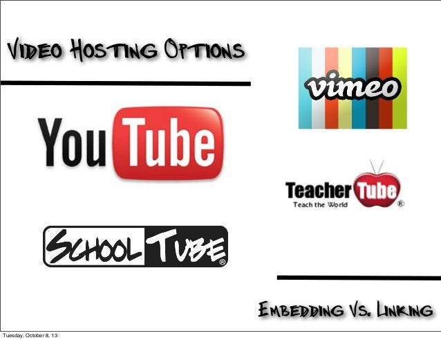 Video Hosting Options Embedding Vs. Linking Tuesday, October 8, 13