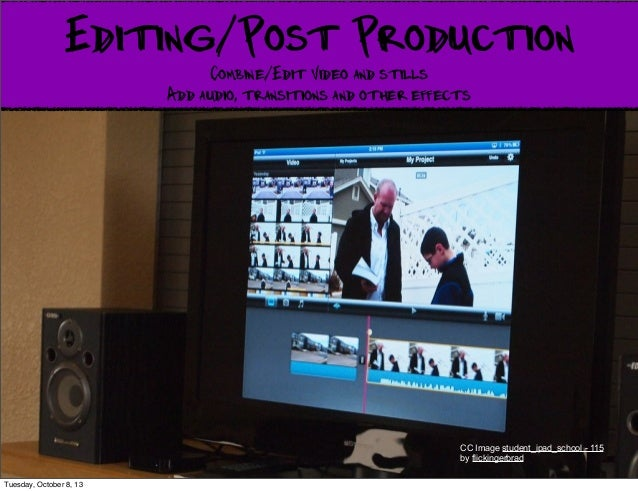 Editing/Post Production Combine/Edit Video and stills Add audio, transitions and other effects CC Image student_ipad_schoo...