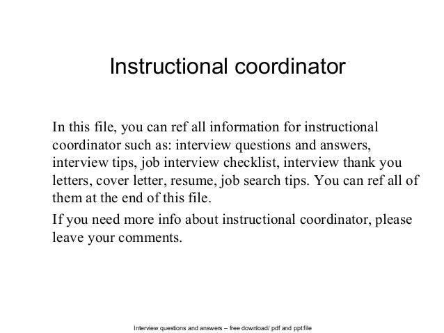 Interview Questions And Answers U2013 Free Download/ Pdf And Ppt File Instructional  Coordinator In This ...