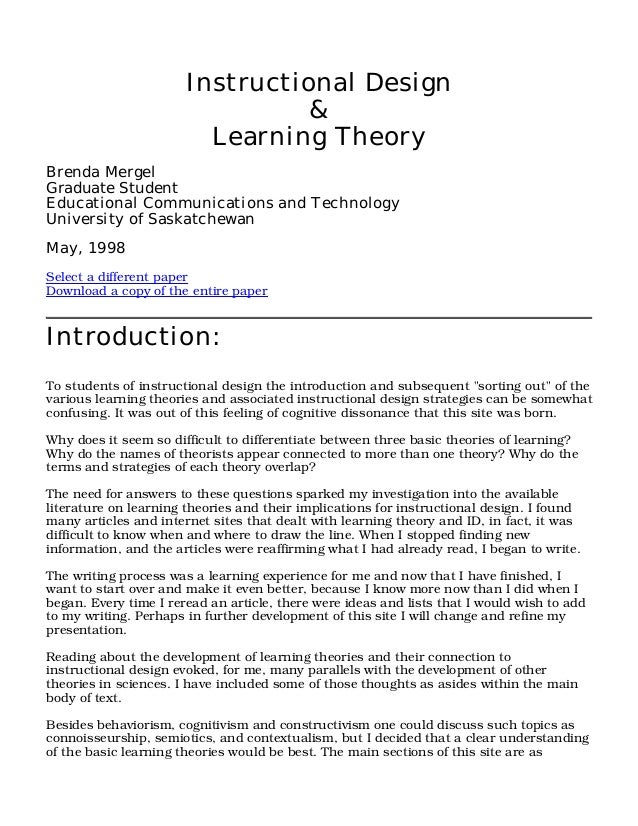 learning theories and instructional design essay Essays in honor of norbert m seel  real world of skill development generalize  model-based theories into educational settings and explain how to design and.