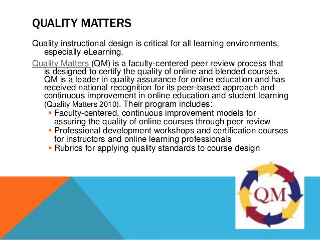 Quality Matters Standards For Online Course Design
