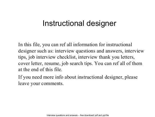 Instructional designer cover letter