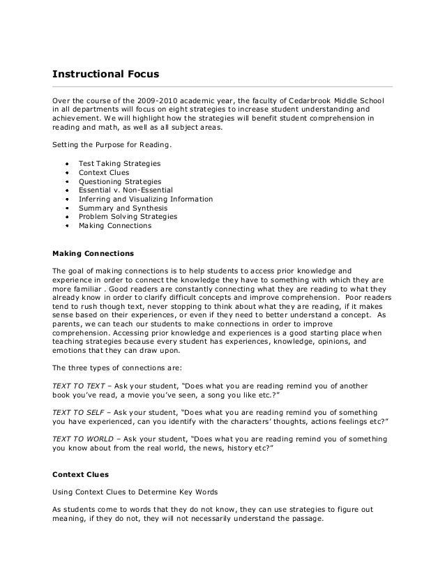 Instructional Focus Over the course of the 2009-2010 academic year, the faculty of Cedarbrook Middle School in all departm...