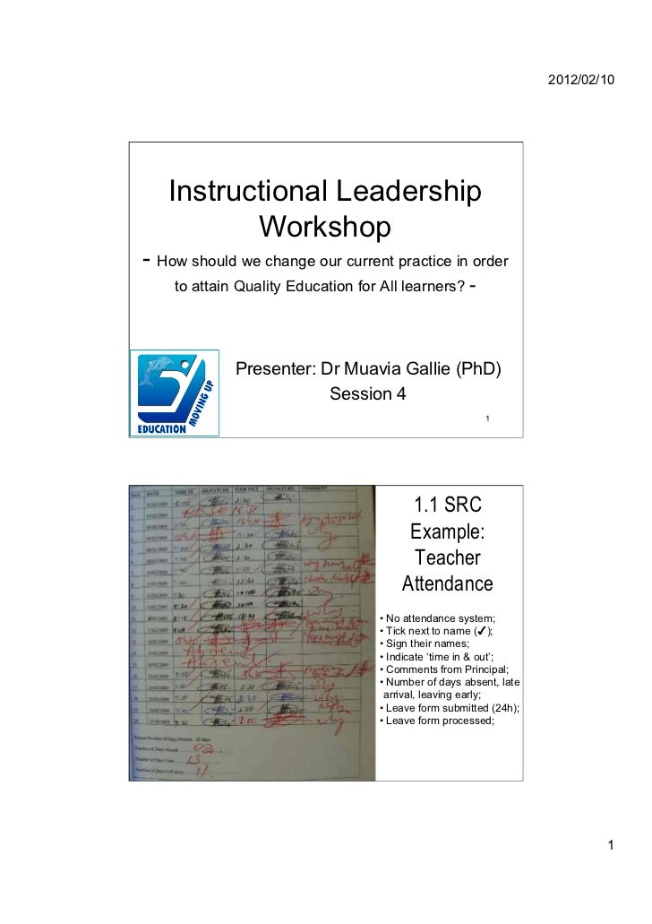 2012/02/10      Instructional Leadership             Workshop- How should we change our current practice in order      to ...