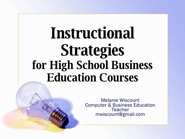 Instructional Strategies For Business Education Courses