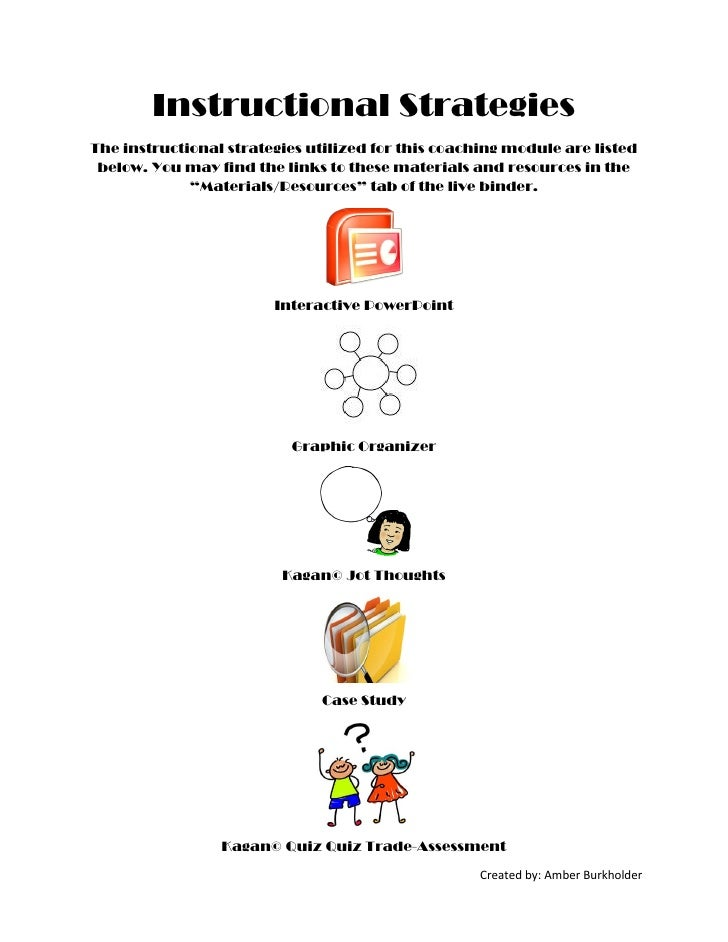 Instructional StrategiesThe instructional strategies utilized for this coaching module are listed below. You may find the ...
