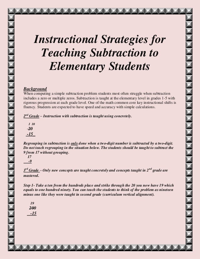 Instructional Strategies For Teaching Subtraction To Elementary Stude