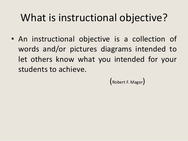 robert mager instructional objectives