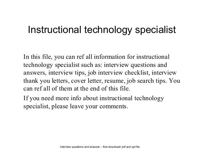 Interview Questions And Answers U2013 Free Download/ Pdf And Ppt File  Instructional Technology Specialist In ...  Thank You Letter For Resume