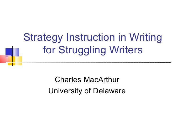 Strategy Instruction In Writing