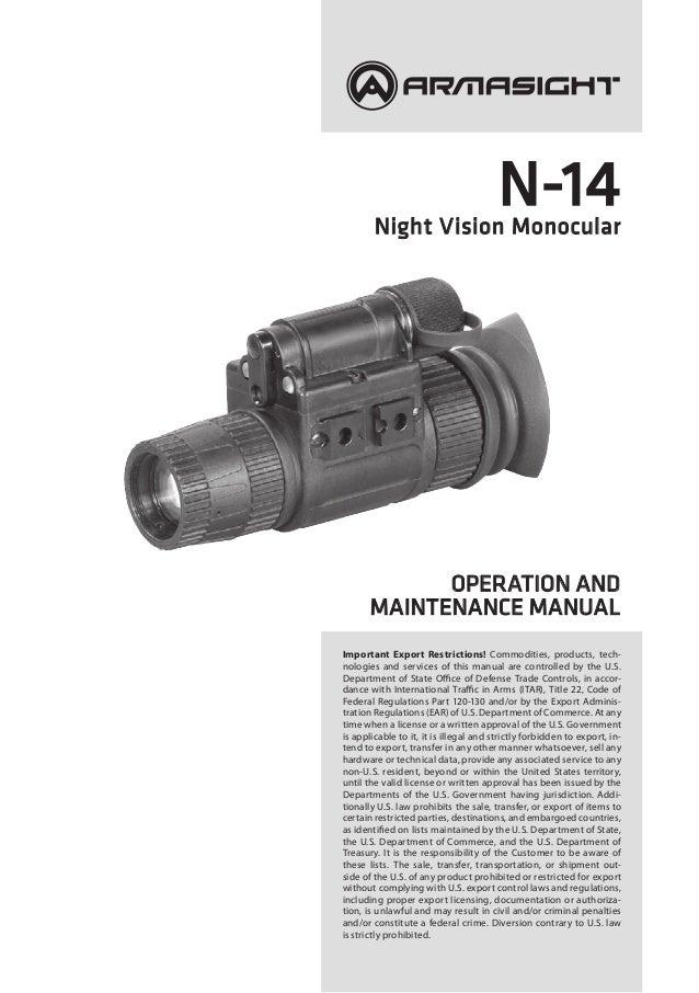 Instruction Manual ARMASIGHT N14 NV Monocular | Optics Trade on