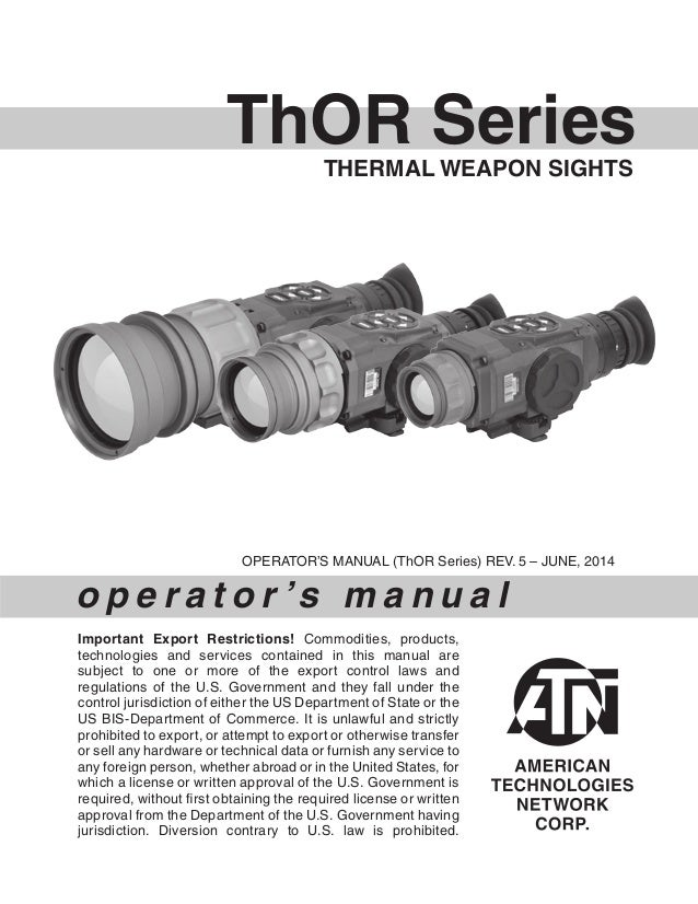 Instruction Manual ATN ThOR Series Thermal Weapon Sights