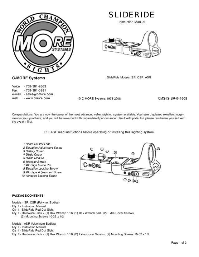 Instruction Manual C More Slideride Optics Trade