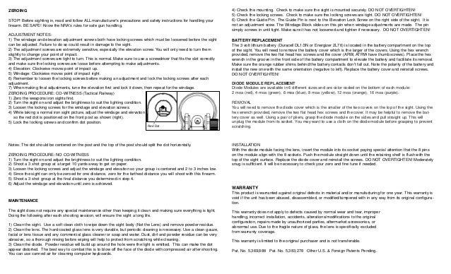Instruction Manual C More Tactical Railway Red Dot Sights Optics