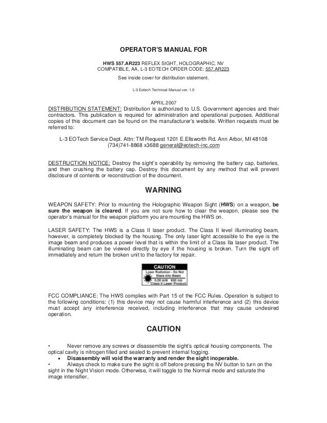 instruction manual eotech 516 517 556 557 sight optics trade rh slideshare net State Administrative Manual Sam Desk Manual