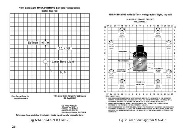 printable m4 zeroing target m4 bore sight target related
