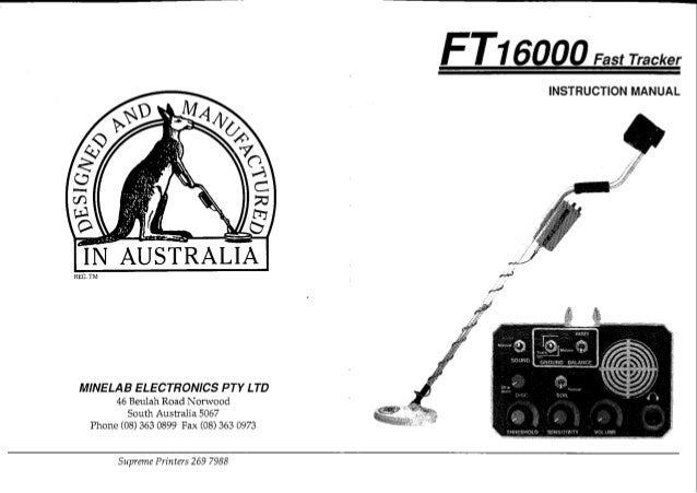 Instruction Manual Minelab FT 16000 Metal Detector English