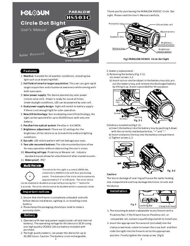 Instruction Manual Holosun Hs503c Reddotsight Optics Trade