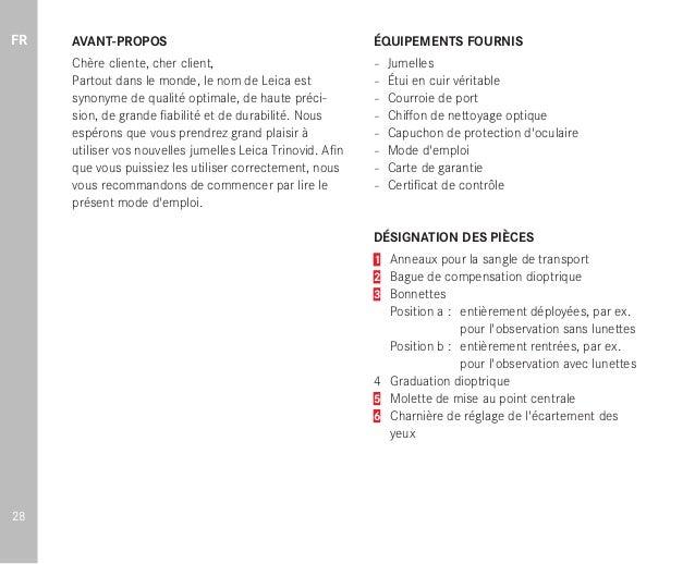 Instruction Manual Leica Trinovid Binoculars Optics Trade