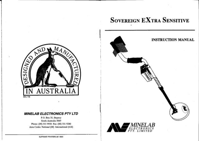 Instruction Manual Minelab Sovereign XS Metal Detector