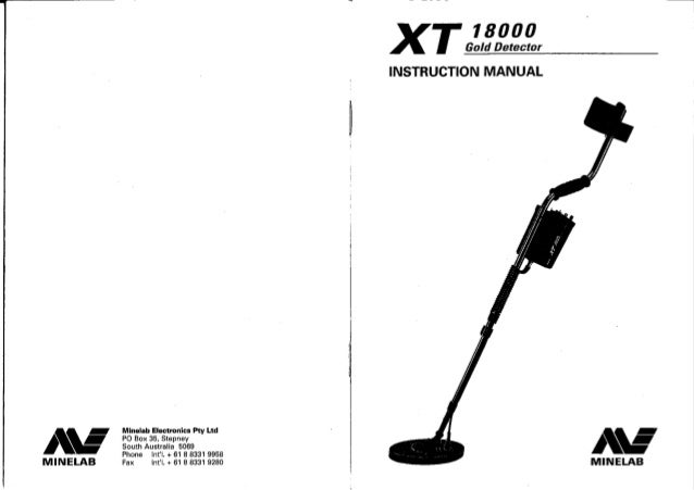 Instruction Manual Minelab XT 18000 Metal Detector English
