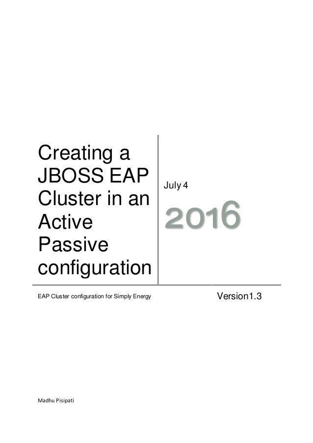 Instruction on creating a cluster on jboss eap environment