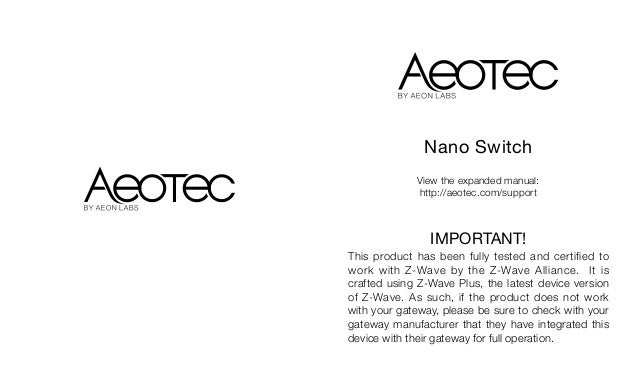 Manual Nano Switch Z-Wave Plus with metering- Aeon Labs