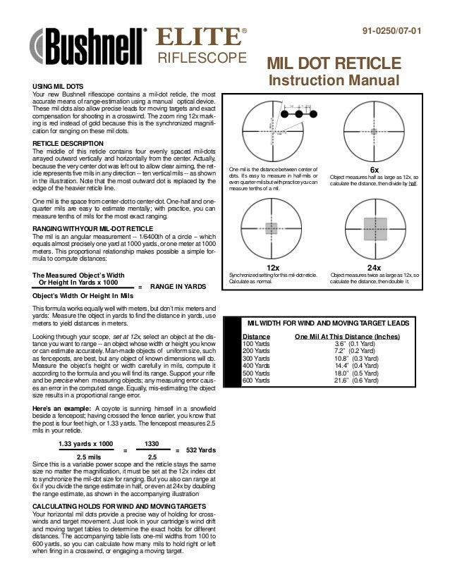 instructions bushnell elite riflescope mil dot reticle optics trade rh slideshare net bushnell v2 user manual bushnell backtrack user manual