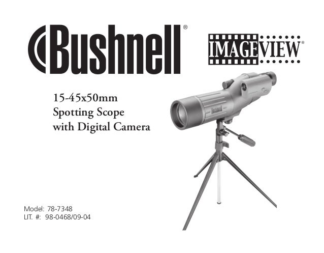 Instructions BUSHNELL Image View 15-45x50 Spotting Scope