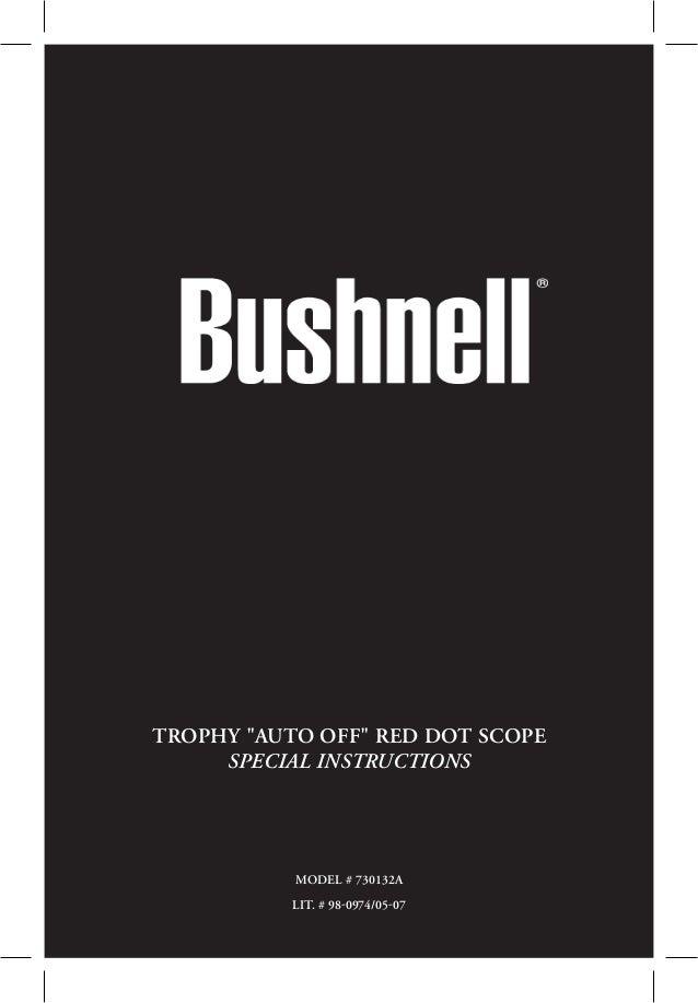 Bushnell Trophy Red Dot Trs 25 3 Moa Red Dot Reticle: Instructions BUSHNELL Trophy Red Dot Scope