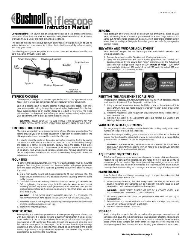 instructions bushnell trophy riflescope optics trade rh slideshare net bushnell user guide bushnell elite 6500 user manual