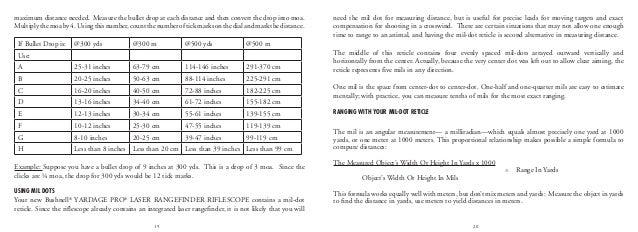 Instructions BUSHNELL Yardage Pro Laser Rangefinder Rifle