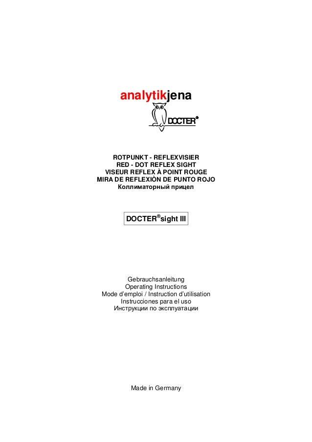 analytikjena ROTPUNKT - REFLEXVISIER RED - DOT REFLEX SIGHT VISEUR REFLEX À POINT ROUGE MIRA DE REFLEXIÒN DE PUNTO ROJO Ко...