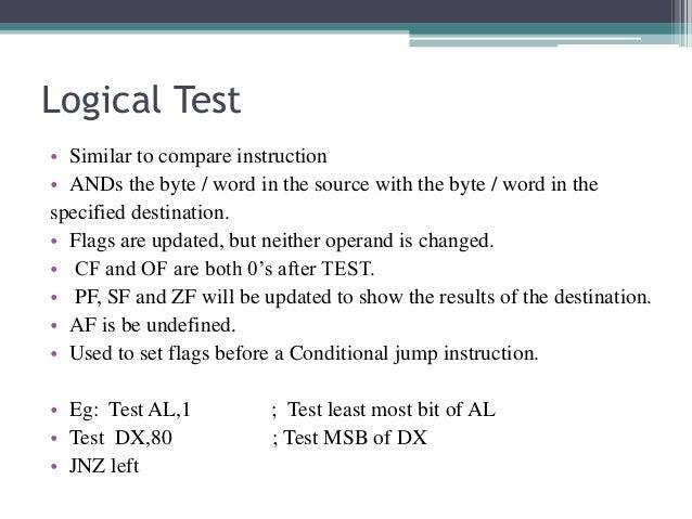 jnz instruction in 8086