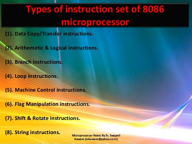 8086 Microprocessor Instruction Set By Er Swapnil Kaware