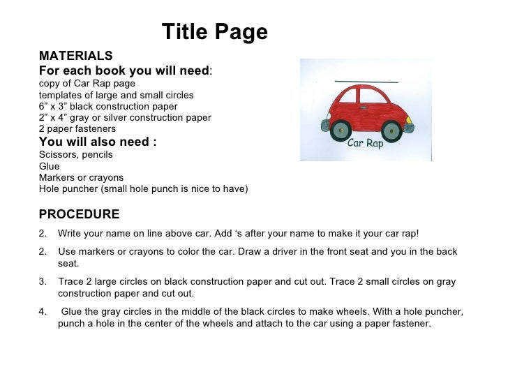 Instructions For Car Rap Book