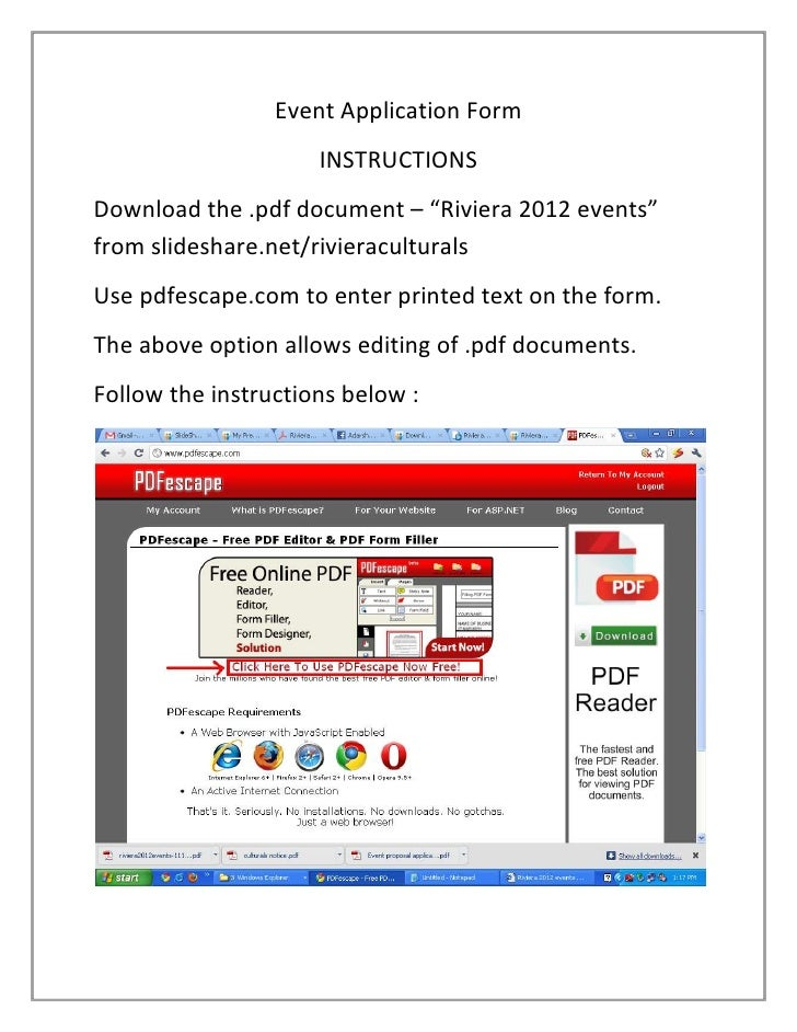 """Event Application Form                     INSTRUCTIONSDownload the .pdf document – """"Riviera 2012 events""""from slideshare.n..."""