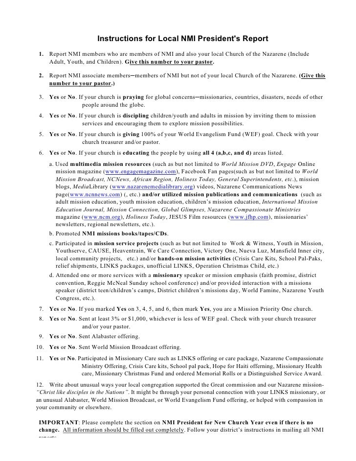 Instruction Sheet for completing Local Presidents Annual report