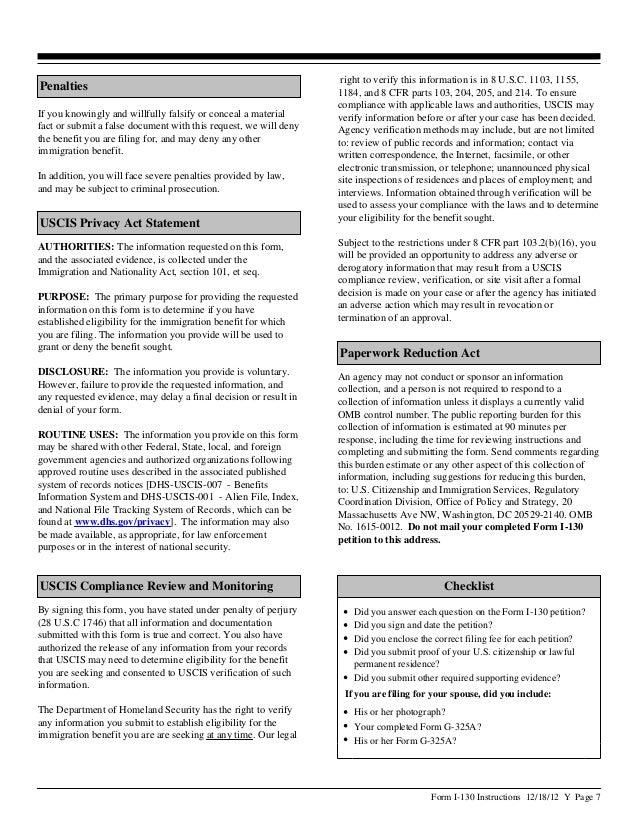 Instructions I 130