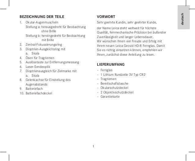 1 deutsch 1 deutsch Bezeichnung der Teile 1. Okular-Augenmuscheln Stellung a: herausgedreht für Beobachtung ohne Brille S...