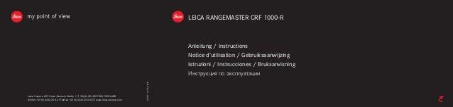 LEICA RANGEMASTER CRF 1000-R  Anleitung / Instructions  Notice d'utilisation / Gebruiksaanwijzing  Istruzioni / Instruccio...