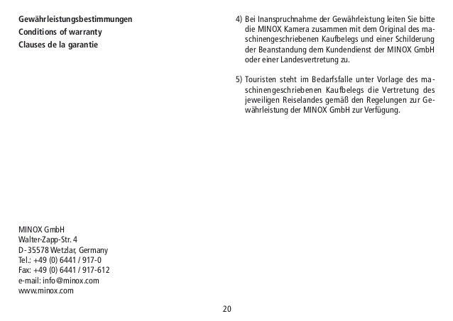 Instructions MINOX HG Series | Optics Trade