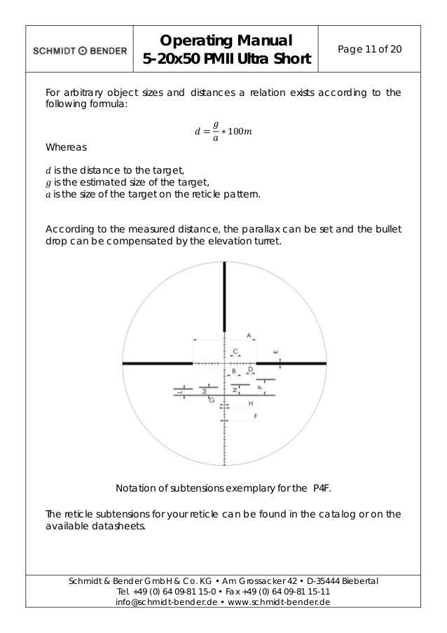 Instructions Schmidt Bender 5 20x50 Pm Ii Ultra Short Double Turn