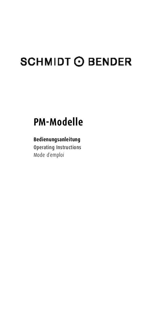 PM-Modelle Bedienungsanleitung Operating Instructions Mode d´emploi