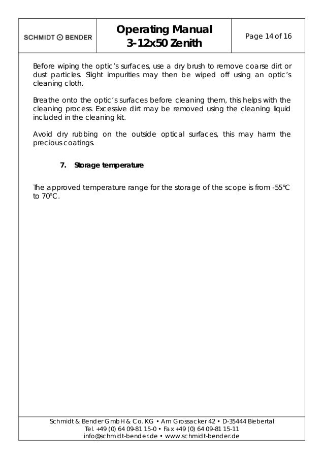 Instructions Schmidt Bender Zenith 3 12x50 Optics Trade