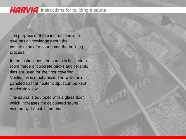 Instructions For Building A Sauna