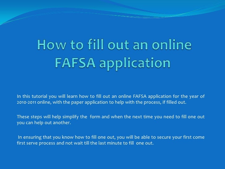 File Your FAFSA as Early as Possible