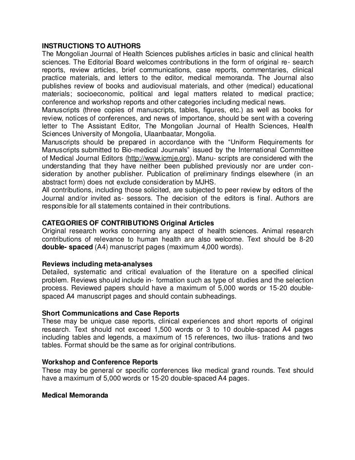 INSTRUCTIONS TO AUTHORSThe Mongolian Journal of Health Sciences publishes articles in basic and clinical healthsciences. T...