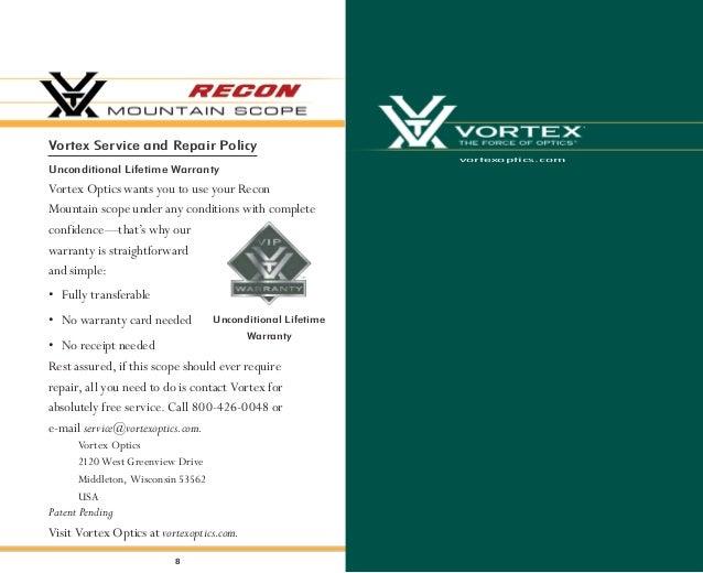 Instructions VORTEX RECON Mountain Scope | Optics Trade