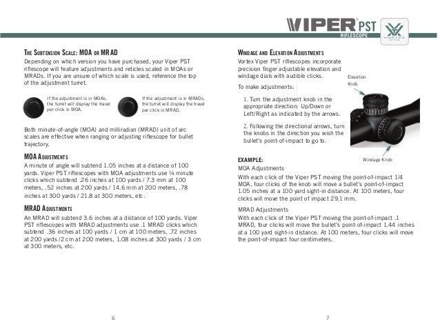 Instructions   Vortex Viper PST Gen II Rifle Scope